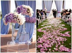 Creative ombre purple and white flower arrangement and creative ombre petal wedding runner