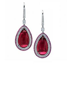 Pear shape rubellite cabochon & diamond earrings