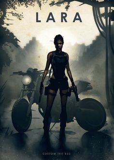 """Moto Legends Lara Croft Custom TRX 850 artwork by artist """"Eden Design"""". Part of a set based on film and TV characters with their iconic motorcycles. Best Movie Posters, Movie Poster Art, Cool Posters, Mejores Series Tv, Eden Design, Cars Characters, Tomb Raider Lara Croft, The Expendables, Image Hd"""