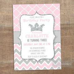 Princess Birthday Invitation Pink Birthday Invite by laprintables