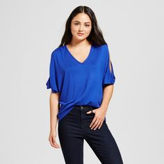 Alison Andrews Women's V-Neck Cold Shoulder Flutter Sleeve Top - Cobalt (Blue) S