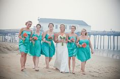 Teal mix-match bridesmaid dresses. Photography by Genevieve Stewart Moving Art Productions http://www.outerbanksweddingassoc.org/membersearch/memberpage.html?MID=1888=Photographers=16