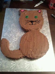 Cat-Shaped Birthday Cake