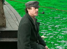 """The green-tinted water in the filming tank will become the muddy Thames when the CGI wizards are done with it.  Robert Downey Jr. as Holmes in """"Sherlock Holmes"""" (2009)."""
