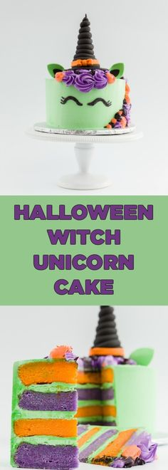 Halloween Witch Unicorn Cake - Such an amazing Halloween cake!! There's a video tutorial in the post as well. #halloween #halloweencake #unicorncake #witch