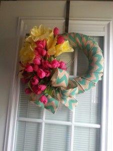 Chevron burlap Easter wreath, source unknown.