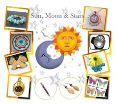"""Sun, Moon & Stars"" by glassdreamshawaii ❤ liked on Polyvore featuring art"