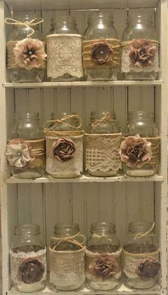 12 Mason Jar Wedding Centerpieces, Rustic Wedding, Burlap Mason Jar Sleeves, Jar Not Included, Bridal Shower Decorations. Cheap Wedding Centerpieces For Sale On the market is 12 handmade mason jar sleeves. Burlap adorned with ivory/pure shade lace and han Pot Mason Diy, Burlap Mason Jars, Quart Mason Jars, Mason Jar Projects, Mason Jar Crafts, Diy Projects, Burlap Projects, Wedding Centerpieces Mason Jars, Burlap Centerpieces