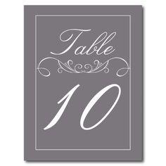 Elegant Swirl Wedding Table Number Cards Postcards
