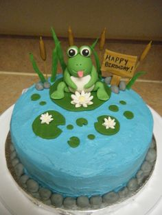 Frog Pond Birthday Cake - A cake I made for my Mom's friends birthday. It was my first time molding my own fondant and gumpaste creations :) Frog Birthday Party, 60th Birthday Cakes, Birthday Ideas, Frog Cakes, Cupcake Cakes, Beautiful Cakes, Amazing Cakes, Pond Cake, Fondant Animals