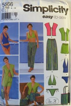 Simplicity 5566 Juniors' and Misses Cropped Pants or Shorts, Cover-Up, Bag and Knit and Woven Swimsuits -  - Smiths Depot Sewing Pattern Superstore