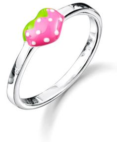 Little girl's pink strawberry ring.