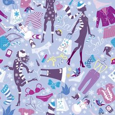 Seamless Pattern in Blue Colors   #GraphicRiver         Seamless pattern in blue colors – Silhouettes of fashionable girls with colorful glamor clothes and accessories in Christmas Sale time. Seamless pattern with Red hearts confetti and two big paper hearts with hand drawn Valentines day or Wedding background. This image is a vector illustration and can be scaled to any size without loss of resolution. All parts of the image are editable. EPS file included.     Created: 19September13…