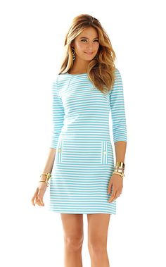 Striped knit dresses just make sense. The Charlene boatneck shift dress is everything you need in a casual shift: sleeves, great fit and classic style - love!