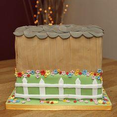 2 Tier Horse Stables Cake with handmade fondant horses & apple barrel