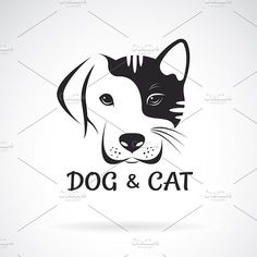 Vector of dog and cat face design. - Vector of dog and cat face design. Informations About Vector of dog and cat face design. Cat And Dog Drawing, Cat And Dog Tattoo, Dog Tattoos, Cat Tattoo, Animal Tattoos, Paw Print Art, Cat Paw Print, Dog Logo Design, Etiquette Vintage