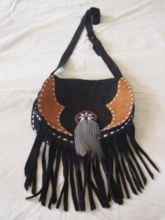a+gorgeous+black+suede+indian+fringe+bag+with+feather+tassel.+Hand+made+in+Bali+ Fringe Bags, Black Suede, Bali, Gypsy, Tassels, Feather, Shoulder Bag, Indian, How To Make