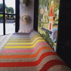 """We've ""Brightoned"" up our shop window with this vibrant @armadilloandco rug, in preparation for #brightonpride2015 #pride2015 #flyingtherainbowflag…"" @msiinteriors"