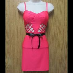 Fancy Pink Bodycon Dress W/ Black Straps(back) This dress is really Amazing. Gorgeous colors. Soft and comfy. Stretchy material. Belt included. Size Medium - Almost New - Save $$$ on bundles Dresses Mini