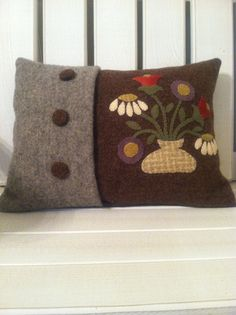 Wool applique decorative floral pillow cover by WOOLYPRIMITIVES, $40.00