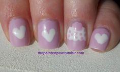 Hearts/Cupcake nail art. #thepaintedpaw