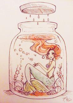 flyingpaperdragons: doodle of Ariel in a jar