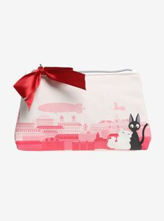 """Touch up your lipstick and smile, you've got to make a good impression. Keep your supplies handy in this makeup bag from  Kiki's Delivery Service . The light pink faux leather bag features a pink cityscape with Jiji and Lily on one side and the same image in purple on the other. The zipper closure is accented with Kiki's signature red ribbon.    100% polyurethane  7"""" x 4 1/2""""  Imported"""