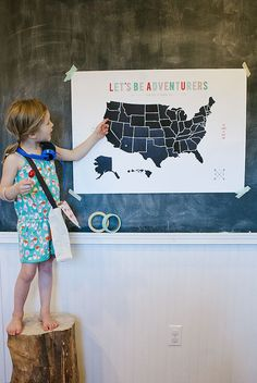 USA map printable poster in black and white and color 32x24 inches  #raeannkellypins #rakpinparty
