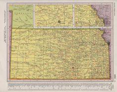 Vintage Postcard Kansas Map Kansas Vintage Postcards And - Detailed map of kansas