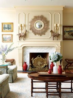 CINDY RINFRET bedrooms   Above the Regency tray top coffee table and Grecian and brass mounted ...