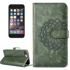 [$3.37] For iPhone 6 & 6s Embroidery Flower Pattern Horizontal Flip Leather Case with Holder & Card Slots & Wallet & Photo Frame(Army Green)