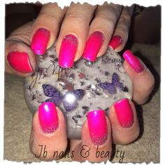 Gel polish on natural nails with glitter