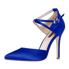 7f3747a261666 ERIJUNOR E2264 Women High Heel Ankle Strap Satin Dress Pumps Evening Prom  Wedding Shoes Blue Size 9
