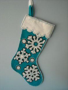 Snowflake Felt Christmas Stocking by Holidazzle on Etsy