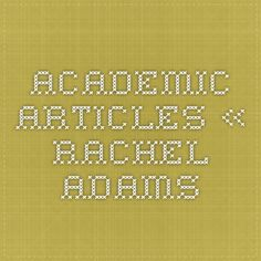 Academic Articles « Rachel Adams