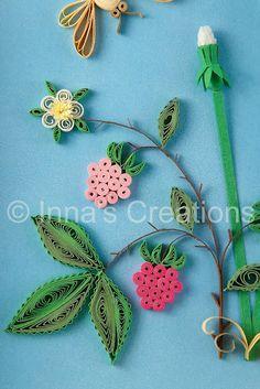 Dandelions and raspberries. Quilling