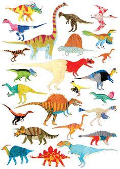 James Barker Illustration, Dinosaurs, Dinosaur Chart