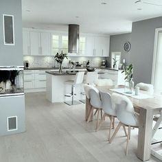 46 most popular scandinavian kitchen ideas 43 Open Plan Kitchen Diner, Open Plan Kitchen Living Room, Kitchen Dining Living, Kitchen Room Design, Modern Kitchen Design, Dining Room Design, Home Decor Kitchen, Interior Design Kitchen, Home Kitchens