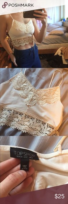 White/cream floral tank crop top Zips up the side, super cute with high waisted shorts. Topshop Tops Tank Tops