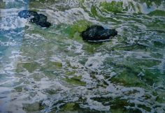 """ocean waves 22"""" x 30"""" micheal zarowsky watercolour on arches paper / private collection"""