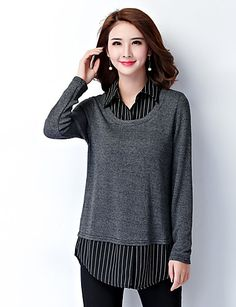 Women's Plus Size / Work Simple Fall Shirt,Striped Pullover Shirt Collar Long Sleeve Gray Rayon / Polyester Medium 5220039 2017 – $15.99