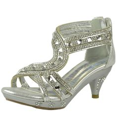 Kids Dress Sandals Strappy Asymmetrical Jeweled A Dress Shoes Silver >>> Check this awesome image : Girls sandals Girls Dress Sandals, Girls Shoes, Ladies Shoes, High Heels For Kids, Birthday Presents For Girls, Ballroom Shoes, Braids For Kids, Silver Shoes, High Heel Boots