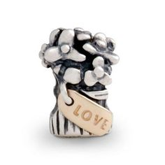 Pandora Silver and 14ct Gold Flower Love Bouquet Charm 790441
