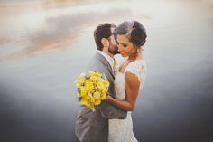 Yellow & Grey backyard wedding, photo by sunglowphotography.com