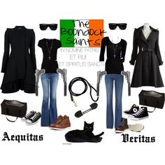 MInus the guns how cute are these outfits! LOVE the black jackets! The Boondock Saints by vintagetraincase on Polyvore