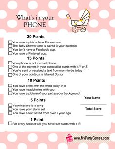 Free Printable Whatu0027s In Your Phone Baby Shower Game