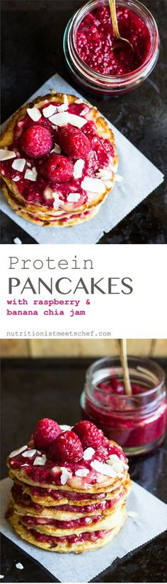 Protein Pancakes with Raspberry Banana Chia Jam