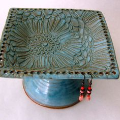 Kiln fresh in my Etsy shop! Lace Pottery Pedestal Earring Jewelry Bowl by sheaclay also available at Uncommon Goods. http://www.uncommongoods.com/product/pedestal-jewelry-holder