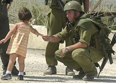Greeting an Israeli soldier.