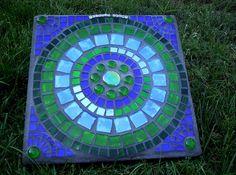 mosaic garden art stepping stone by GardenDivaDeb Mosaic Stepping Stones, Stone Mosaic Tile, Mosaic Glass, Mosaic Tiles, Mosaics, Pebble Mosaic, Stained Glass, Mosaic Garden Art, Mosaic Flower Pots